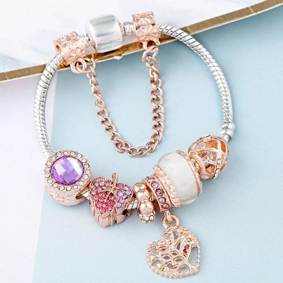 Silver Rose Gold Autumn Charm Bracelet for Pandora